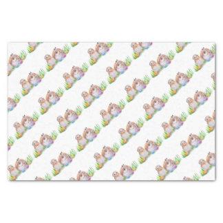 Papier Mousseline Art de Pâques de hibou et de lapin