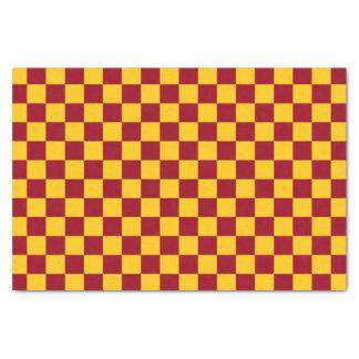 Papier Mousseline Bourgogne et or Checkered
