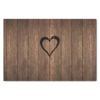 Papier Mousseline Copie de coeur brûlée par bois rustique