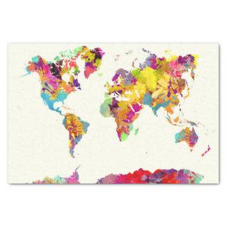 Papier Mousseline couleurs de carte du monde