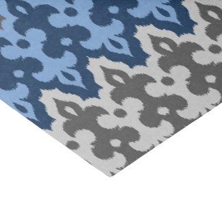 Papier Mousseline Damassé d'Ikat de Marocain, bleu et gris/gris