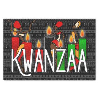 Papier Mousseline Danseurs de Kwanzaa avec des bougies de Kinara