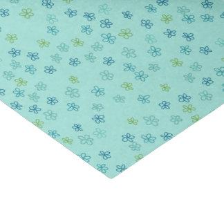 Papier Mousseline Fleurs minuscules turquoises