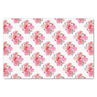 Papier Mousseline Fleurs roses d'aquarelle