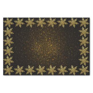 Papier Mousseline Flocons de neige d'or sur le tissu d'or noir