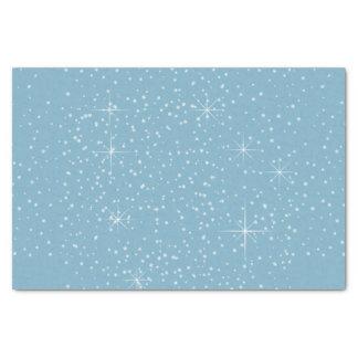 Papier Mousseline Flocons de neige et cadet ID440 bleu d'étoiles
