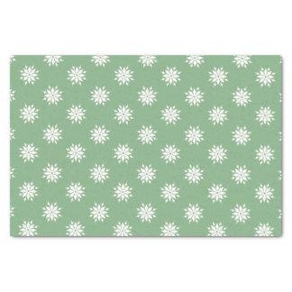 Papier Mousseline Flocons de neige verts de blanc de Noël