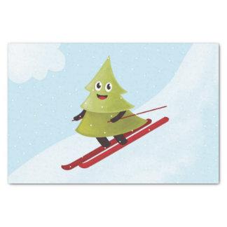 Papier Mousseline Hiver heureux de ski de pin