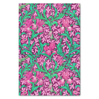 Papier Mousseline Iris de William Morris, rose fuchsia et vin