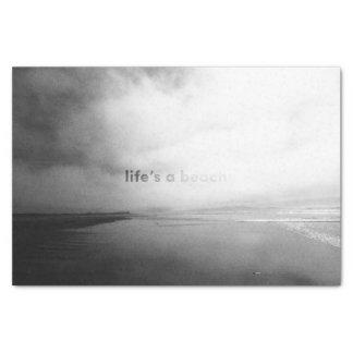 Papier Mousseline La vie est une plage - photo typographique noire
