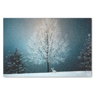 Papier Mousseline Lapin de neige de paysage de neige d'hiver