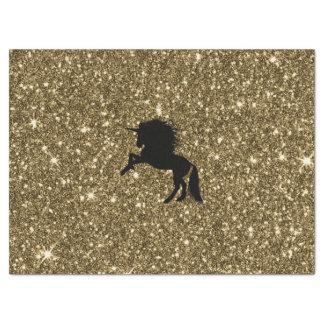Papier Mousseline licorne de scintillement d'or