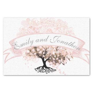Papier Mousseline Mariage rose d'arbre de feuille de coeur