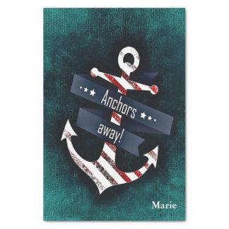 Papier Mousseline Monogramme blanc rouge de bleu de rayure d'ancre