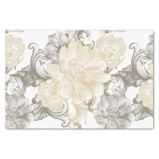 Papier Mousseline Motif floral beige victorien vintage de vignes