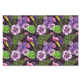 Papier Mousseline Motif tropical pourpre noir d'aquarelle de flore