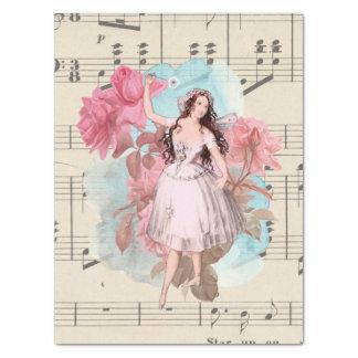 Papier Mousseline Musique de feuille féerique vintage florale de