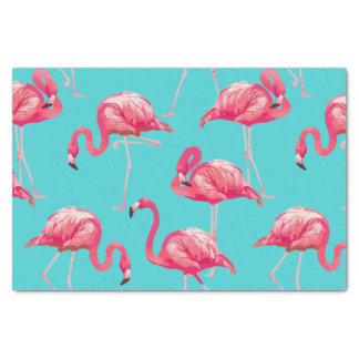 Papier Mousseline Oiseaux roses de flamant sur l'arrière - plan de