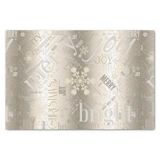 Papier Mousseline Or ID257 de motif des textes et de flocon de neige