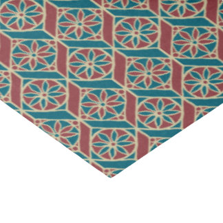 Papier Mousseline Rouge foncé, motif ethnique turquoise, fleurs,