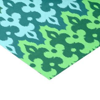 Papier Mousseline Vert de damassé, de turquoise et de jade d'Ikat de