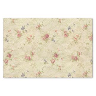 Papier Mousseline Vieux motif affligé de tissu de roses vintages