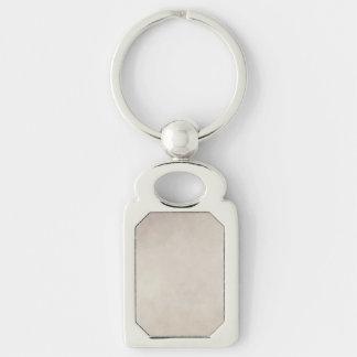 Papier parcheminé bronzage neutre vintage porte-clé rectangulaire argenté