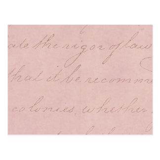 Papier parcheminé rose de Colonial vintage des Cartes Postales