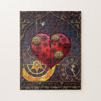 Papier peint vintage de coeurs de Steampunk Puzzle