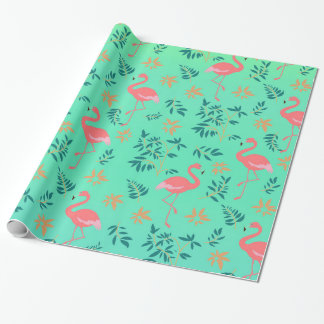 Papier rose tropical d'emballage cadeau de flamant papier cadeau