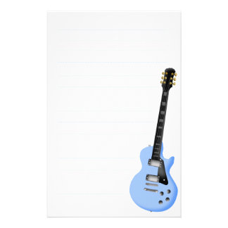 papier stationnaire de guitare bleue papier à lettre