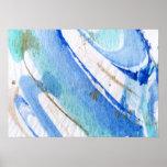 Papier texturisé d'aquarelle abstraite des bleus poster