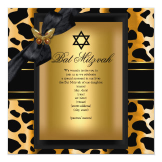 Papillon 2 de noir d'or de léopard de bat mitzvah carton d'invitation  13,33 cm