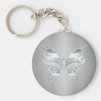 Papillon argenté porte-clés