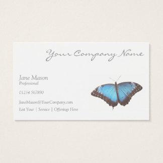 Papillon bleu élégant - carte de visite blanc