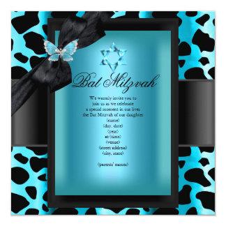 Papillon bleu turquoise de léopard de bat mitzvah carton d'invitation  13,33 cm