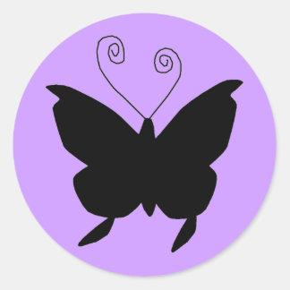 Papillon de diva sticker rond