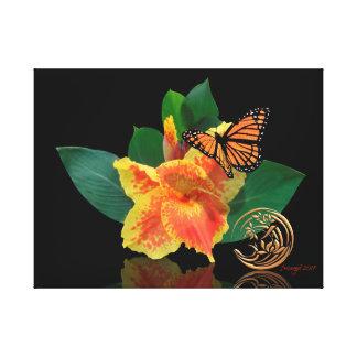 Papillon de monarque et lis de Canna sur la toile