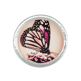 Papillon de monarque, rose bague avec photo