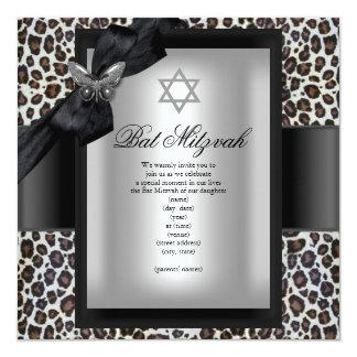 Papillon de noir de guépard de bat mitzvah carton d'invitation  13,33 cm