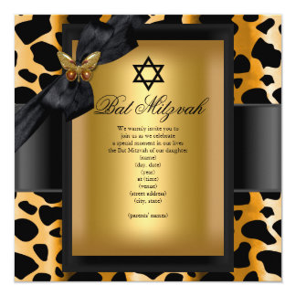 Papillon de noir d'or de léopard de bat mitzvah carton d'invitation  13,33 cm