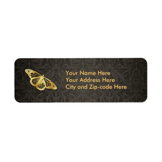 Papillon d'or étiquette d'adresse retour