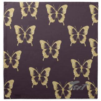papillon élégant de scintillement d'or serviettes en tissus