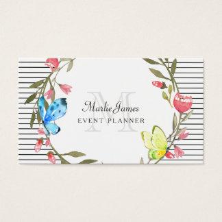 Papillon Girly floral et organisateur de rayures Carte De Visite Standard