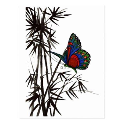 papillon mignon dans le bambou carte postale
