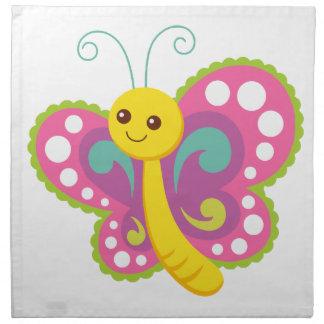 Papillon mignon de bande dessinée, rose, jaune, serviettes en tissus