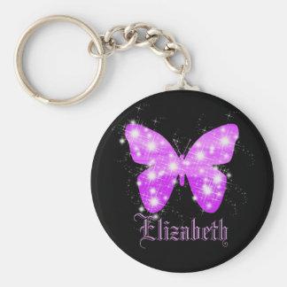 Papillon pourpre et étoiles personnalisés avec le porte-clés