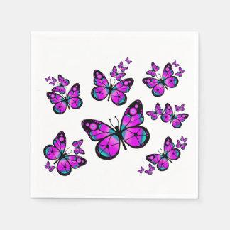 Papillon rose d'enfants serviettes en papier