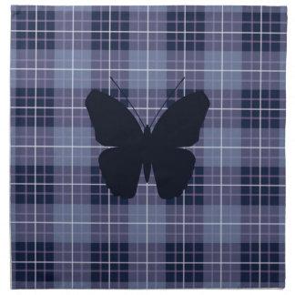Papillon sur des bleus et des pourpres de plaid serviettes en tissus