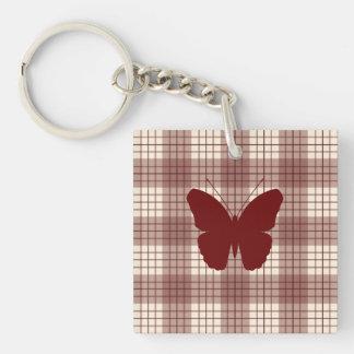 Papillon sur les rouges et la crème de plaid porte-clés